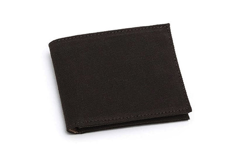 Brown cotton canvas bifold wallet, closed.