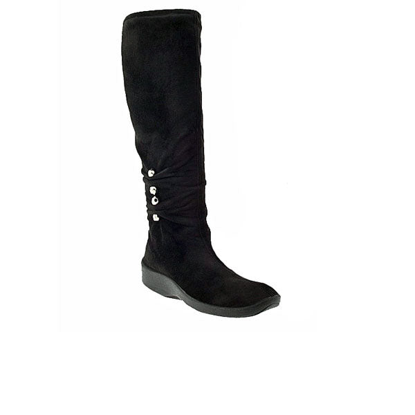 Knee high black microsuede boot with bead detailing on side. Inside zipper, rubber sole.