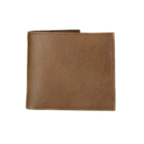 A closed bifold wallet in tan vegan leather.