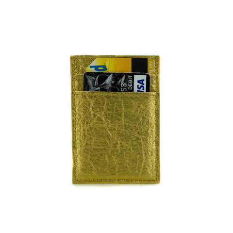 Cliff NYC Vertical Wallet In Gold Pineapple