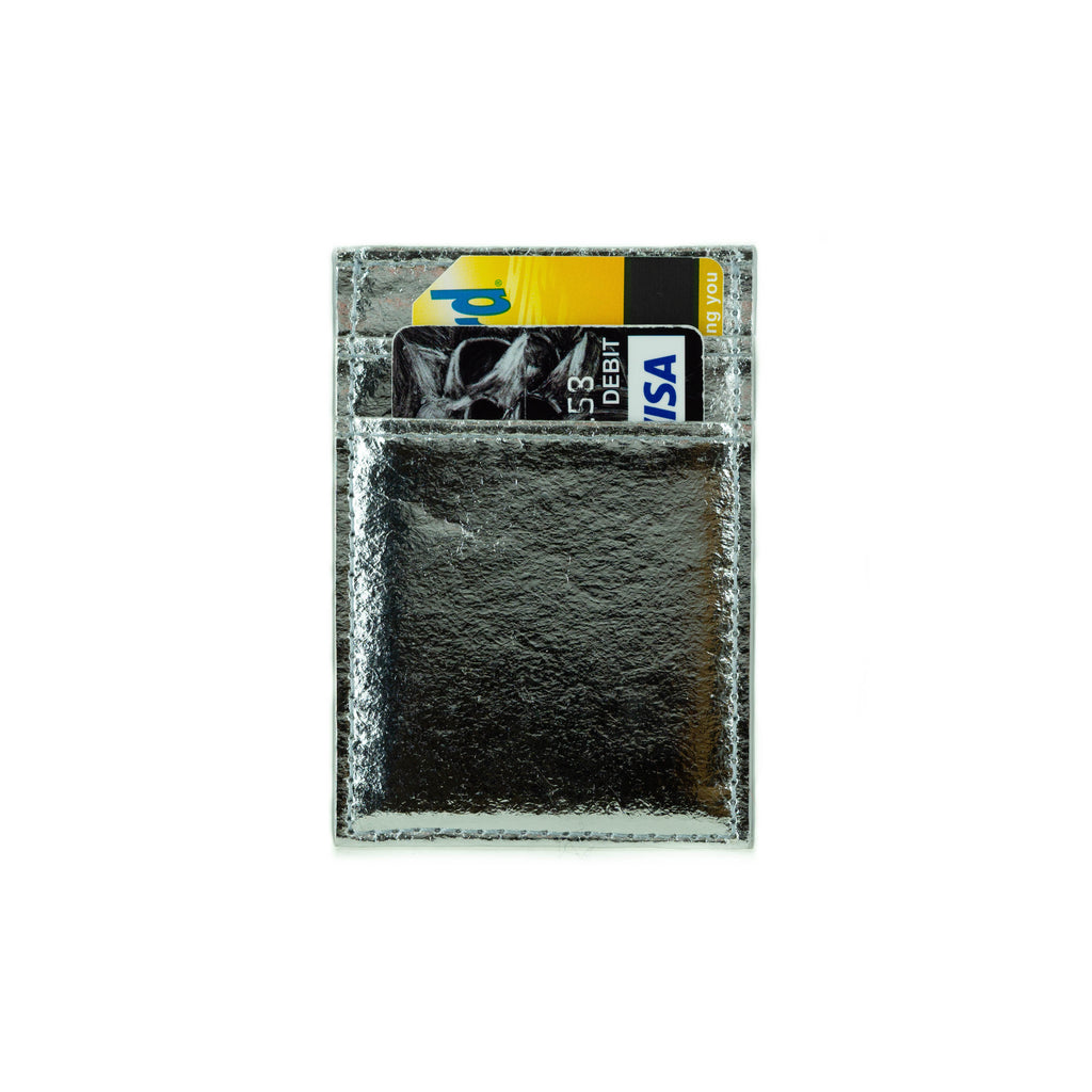 Cliff NYC Vertical Wallet In Silver Pineapple