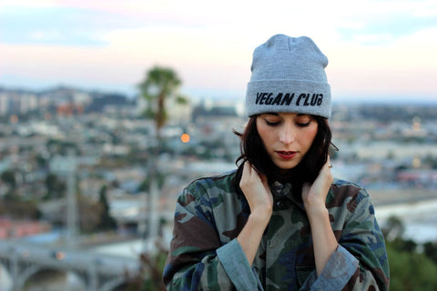 Vegan Club Beanie in Grey