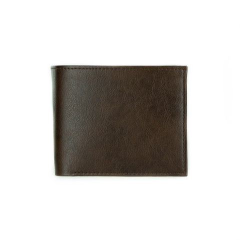 A closed bifold wallet in dark brown vegan leather.