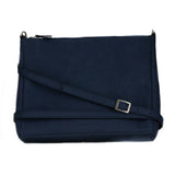Blue microsuede crossbody bag with a top zipper. Long crossbody strap with a silver buckle to adjust length.