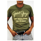 Good Guys Don't Wear Leather Tee in Khaki