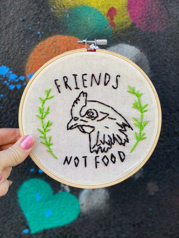 Friends Not Food Embroidery Hoop by Julia Galotti