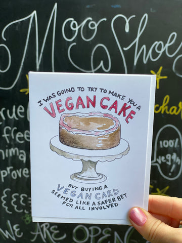 Vegan Cake Greeting Card by Creature Comforts
