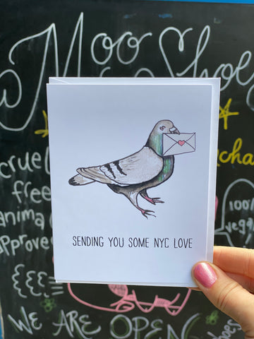 Pigeon Love from NYC Greeting Card by Creature Comforts