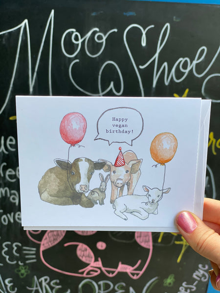 Happy Vegan Birthday Card by Creature Comforts