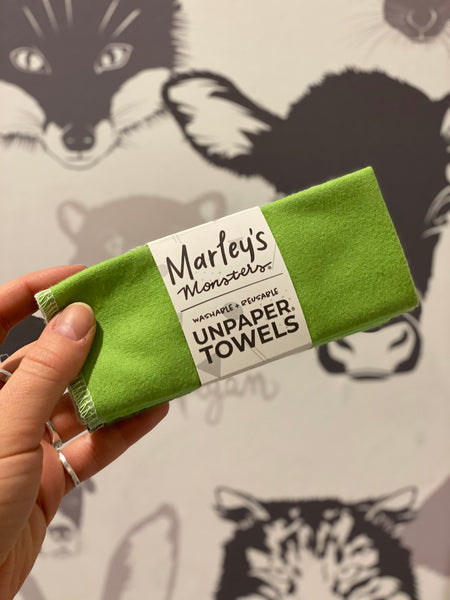6 Pack of Unpaper Towels in Greens from Marley's Monsters
