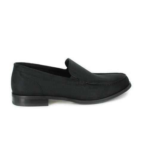 A simple and clean men's dress loafer in black microsuede. Black lining and sole.
