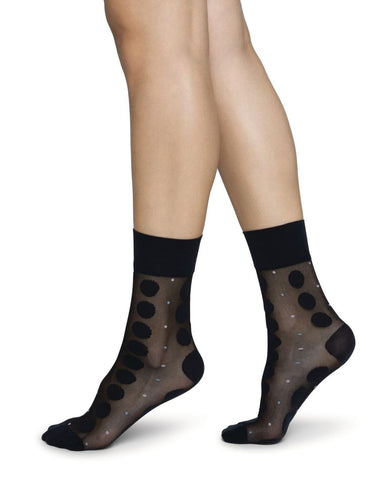 Viola Dot Sock in Black from Swedish Stockings