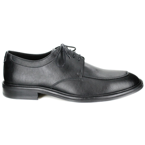A black vegan leather men's dress shoe, lace up with 4 eyelets. Squared toe shape. Black lining and sole.