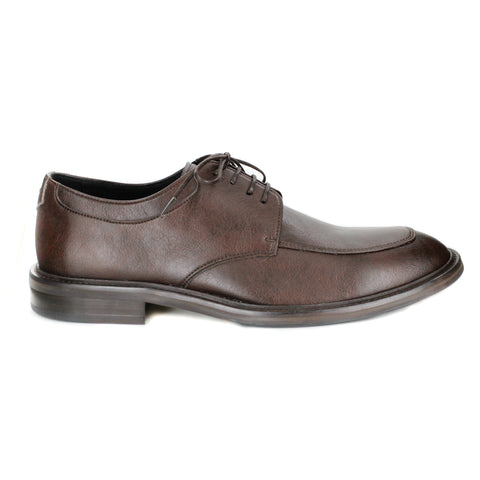 A dark brown vegan leather men's dress shoe, lace up with 4 eyelets. Squared toe shape. Black lining and dark brown sole.