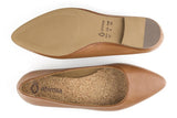 Overhead of flat to show cork insole and Ahimsa logo inside, bottom of sole with logo and sizing.