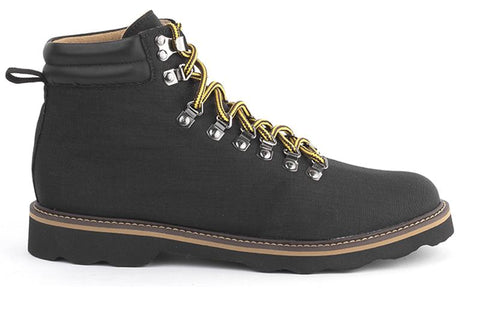 Hiker style boot with quick lacing, black and yellow lacing. Black nylon uppers, silver hardware, black pull tab in back. Tan and black sole.