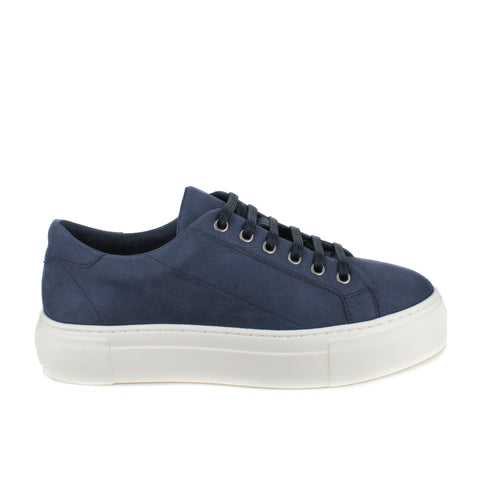 A blue microsuede low top sneaker with a white rubber platform sole. Blue laces.