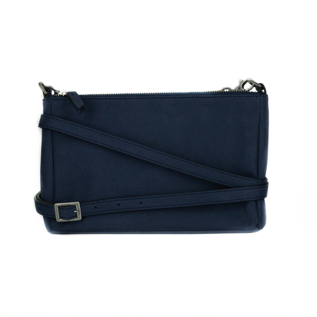 Marina Small Crossbody in Blue Suede from Novacas
