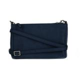 Small crossbody bag in blue microsuede. Silver zipper closure on top, adjustable strap with silver buckle.