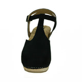 Nico T-Strap Clog in Black Suede from Novacas