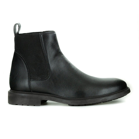 Men's chelsea style boot in black vegan leather. Elastic paneling on sides, pull tab in back, rubber sole with traction.