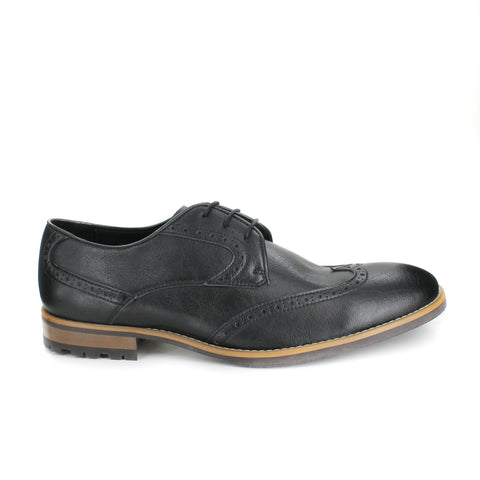 A black brogue dress shoe, lace up with 3 eyelets. Tan and dark brown sole with rubber grip for traction.