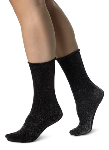 Lisa Lurex Sock in Black/Silver from Swedish Stockings