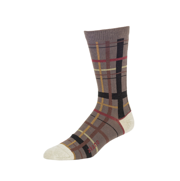 Plaid Crew Socks in Truffle from Zkano