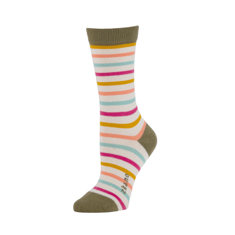 Lila Stripe Crew Sock in Natural Stripe from Zkano