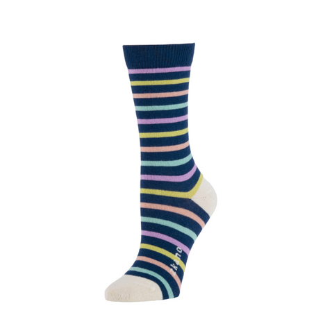 Lila Stripe Crew Sock in Navy Stripe from Zkano