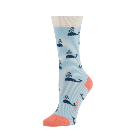 Larkin Crew Sock in Sky Blue Whales from Zkano