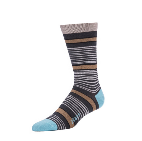 Sawyer Crew Sock in Asphalt from Zkano