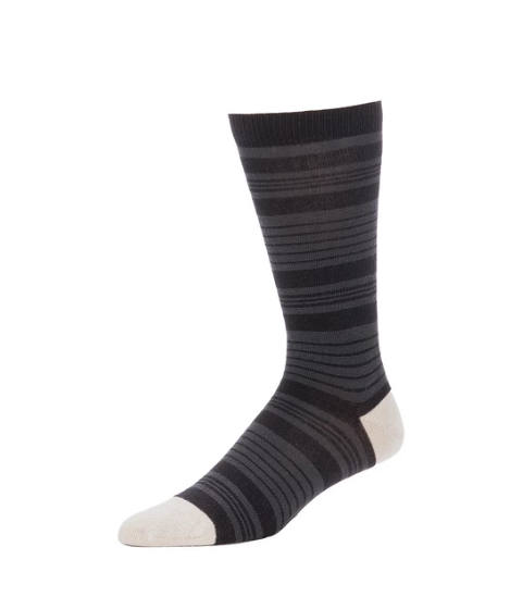 Gavin Striped Crew in Black from Zkano