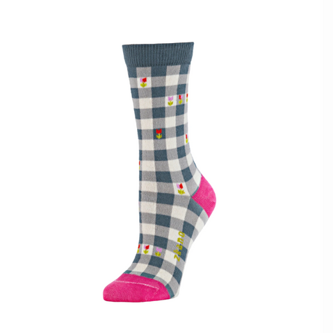 Adeline Gingham Crew Sock in Heather from Zkano