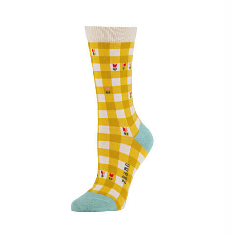 Adeline Gingham Crew Sock in Marigold from Zkano