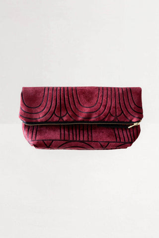 Everything Foldover Clutch in Burgundy from Lee Coren