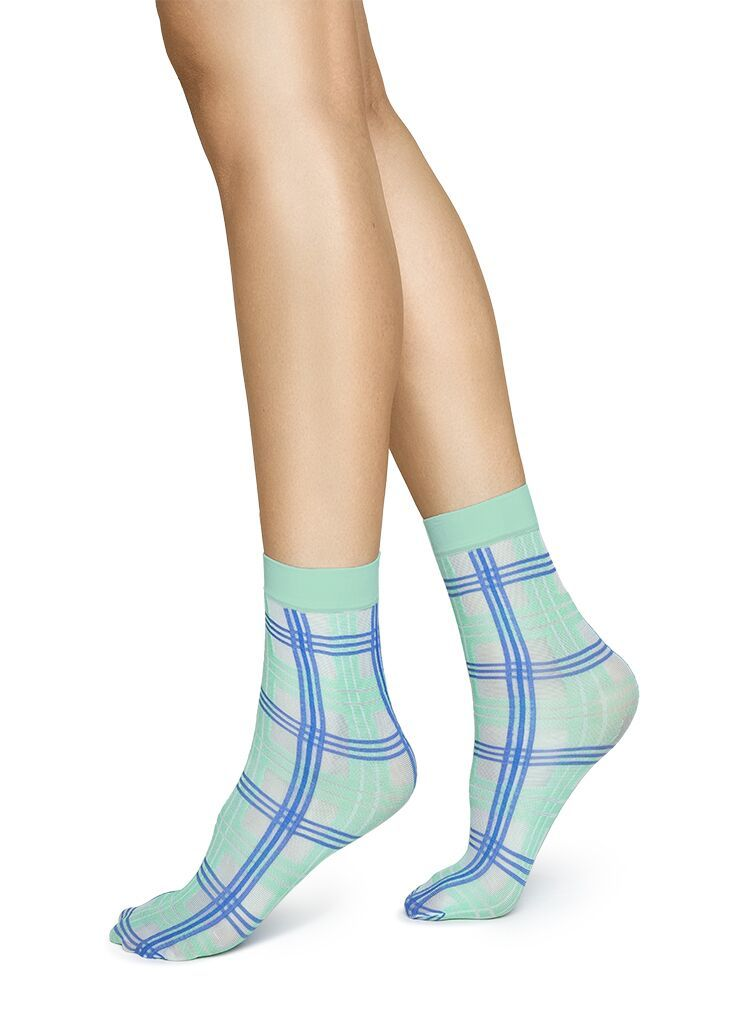Greta Tartan Sock in Green/Blue from Swedish Stockings