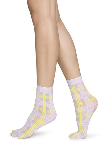 Greta Tartan Sock in Pink/Yellow from Swedish Stockings
