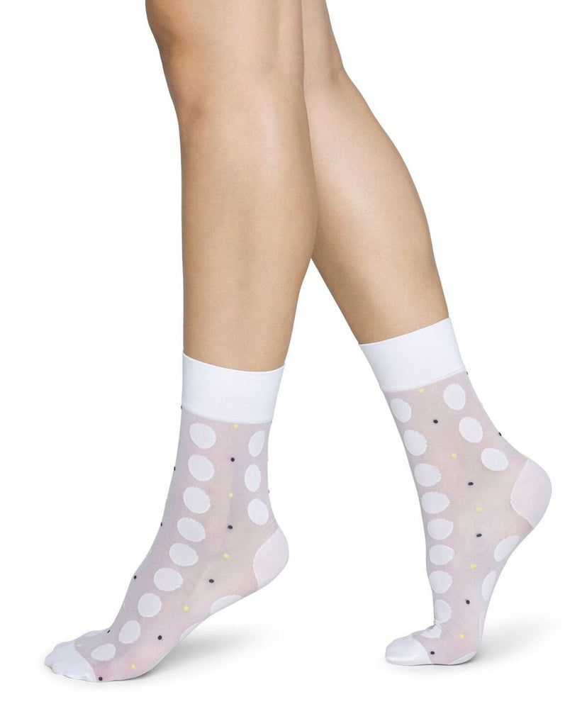 Viola Dot Sock in White from Swedish Stockings