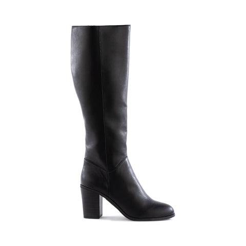 Knee high black boot with a stacked black heel. Slightly tapered round toe.