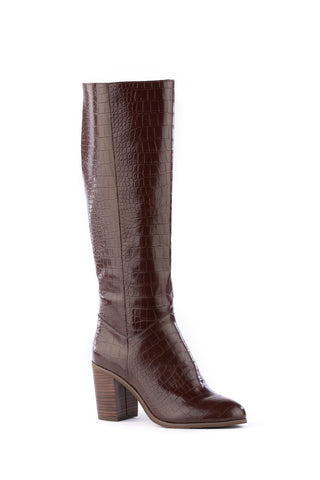 Knee high brown croco-print vegan leather boot with a stacked brown heel. Slightly tapered round toe.