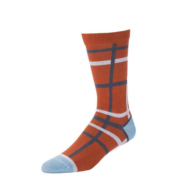 Silas Plaid Crew Sock in Rust from Zkano