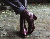 Stevie Platform Boot in Burgundy from Bhava