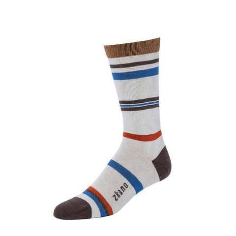 Weiss Striped Crew Sock in Beige from Zkano