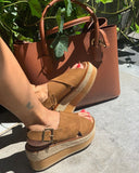 Willa Platform in Tan Suede from Novacas
