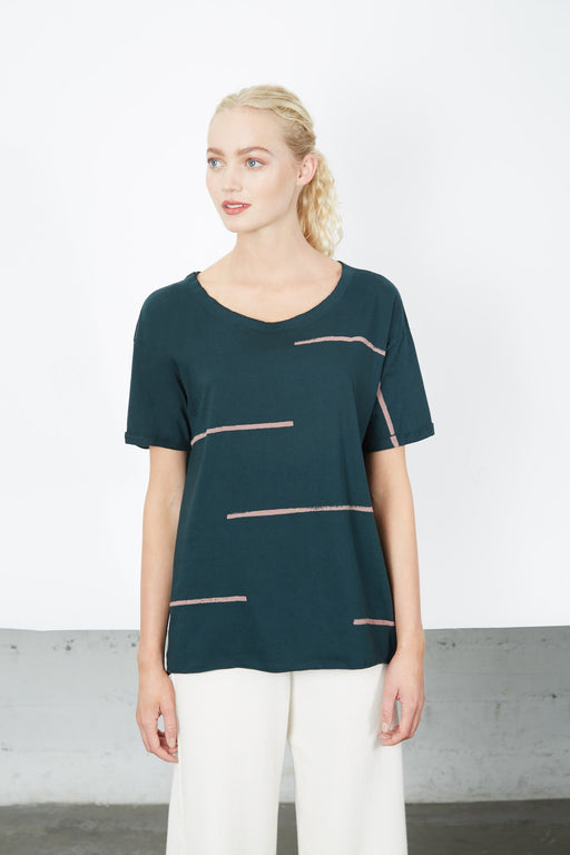 ROLLED-UP SLEEVE Palm Stacatto Stripe