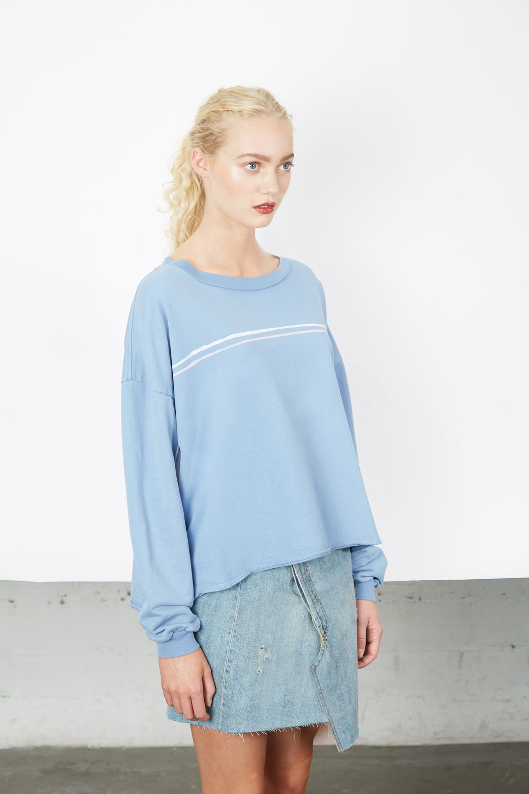 BOXY SWEATSHIRT Pool Twin Stripe