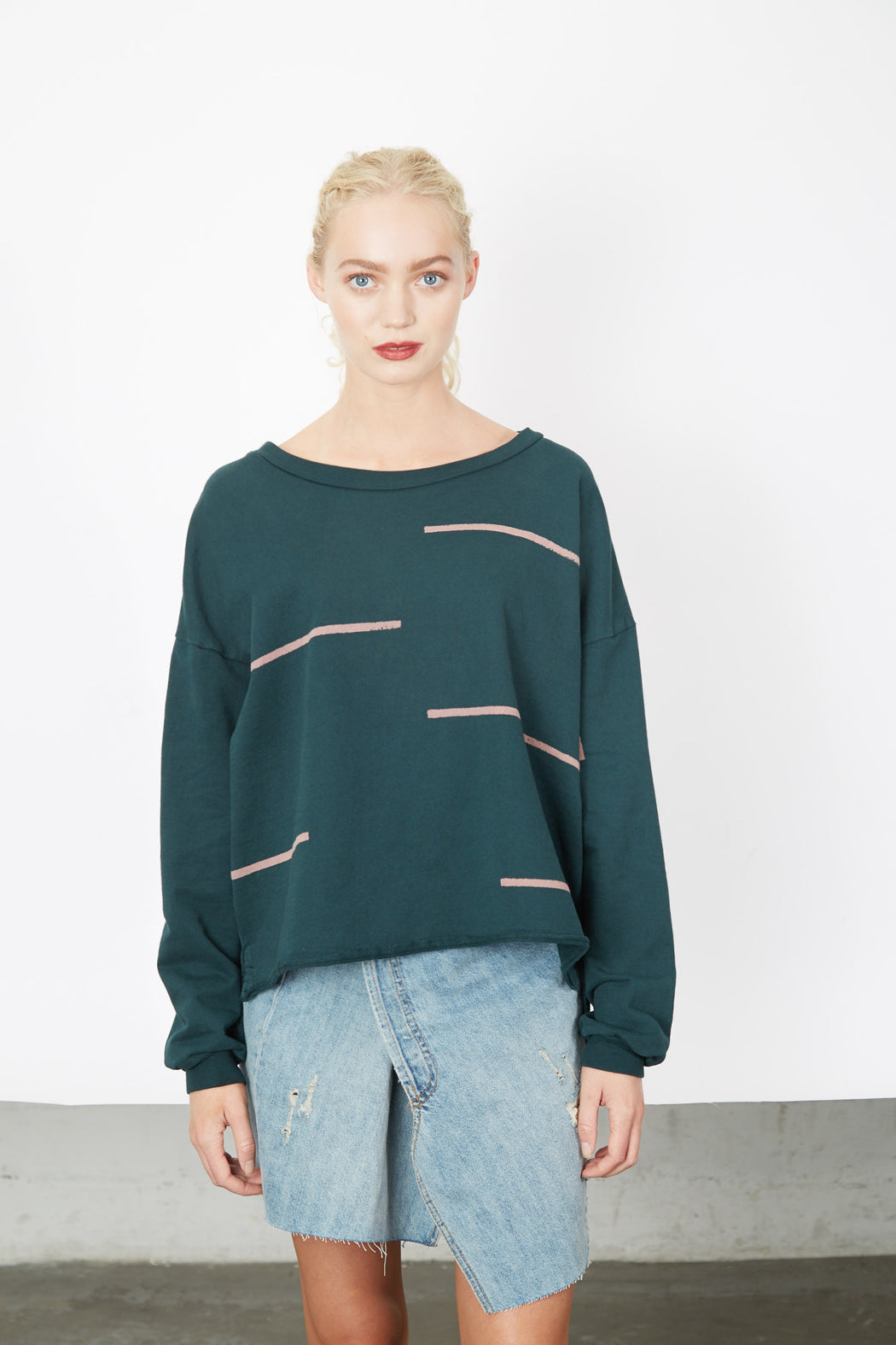 BOXY SWEATSHIRT Palm Stacatto Stripes