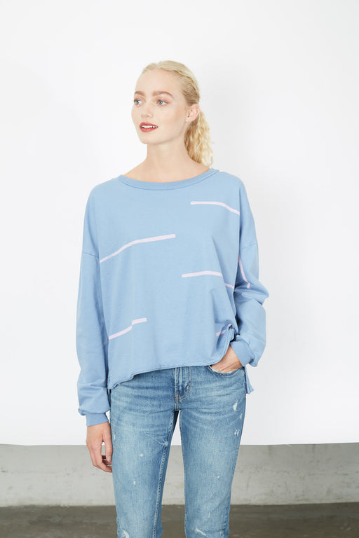 BOXY SWEATSHIRT Pool Stacatto Stripe