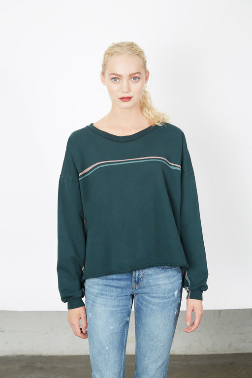 BOXY SWEATSHIRT Palm Twin Stripes